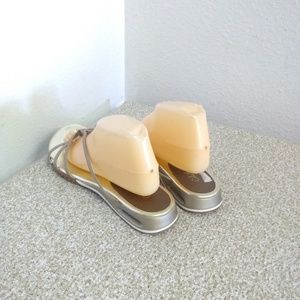 Cole Haan Shoes - Cole Haan Gold Leather Slip on Sandals